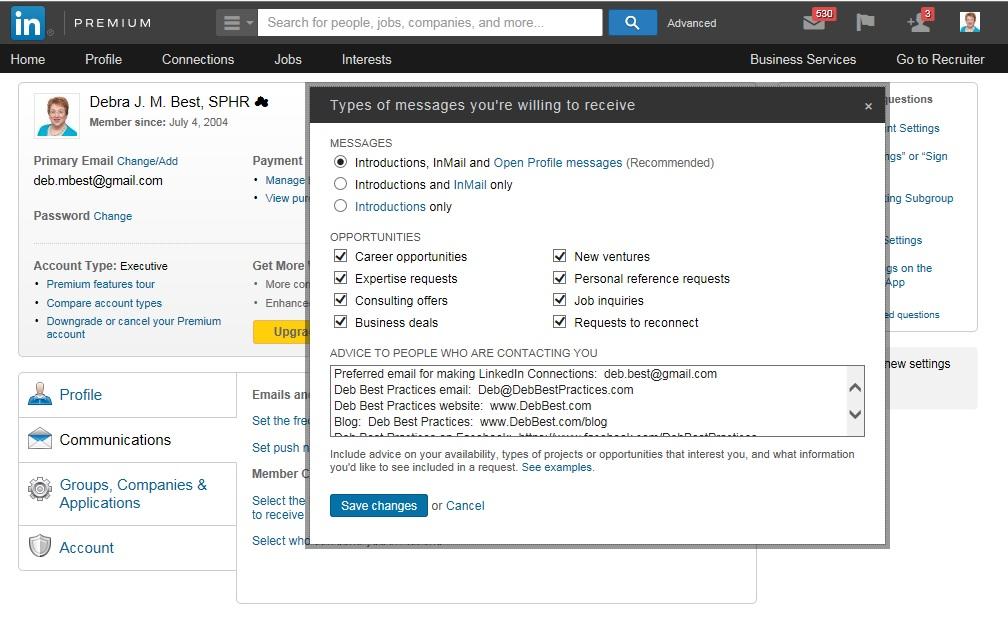 LinkedIn Communication Preferences
