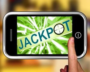 Jackpot On Smartphone Showing Target Gambling